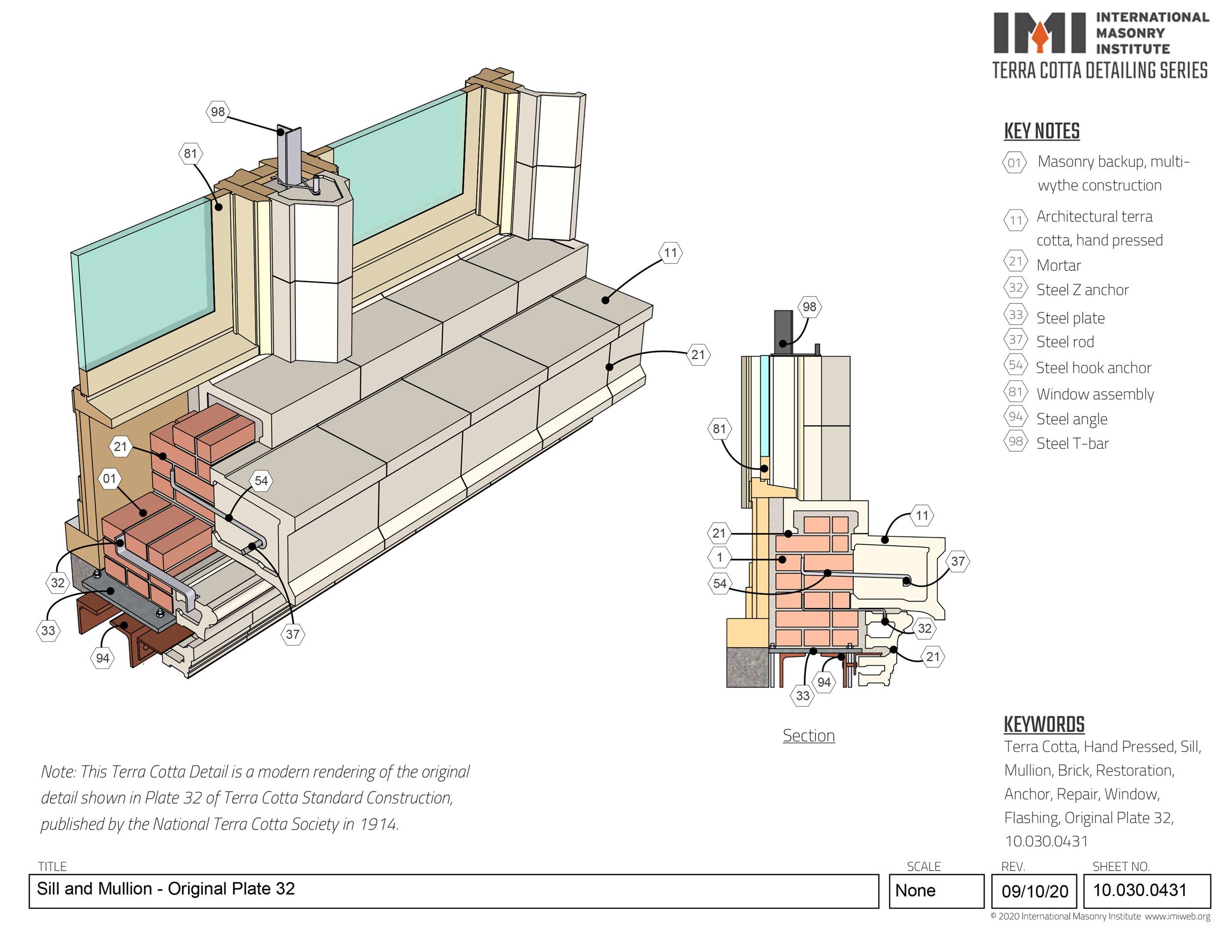 Pressed terra cotta sill and mullion rebuild detail
