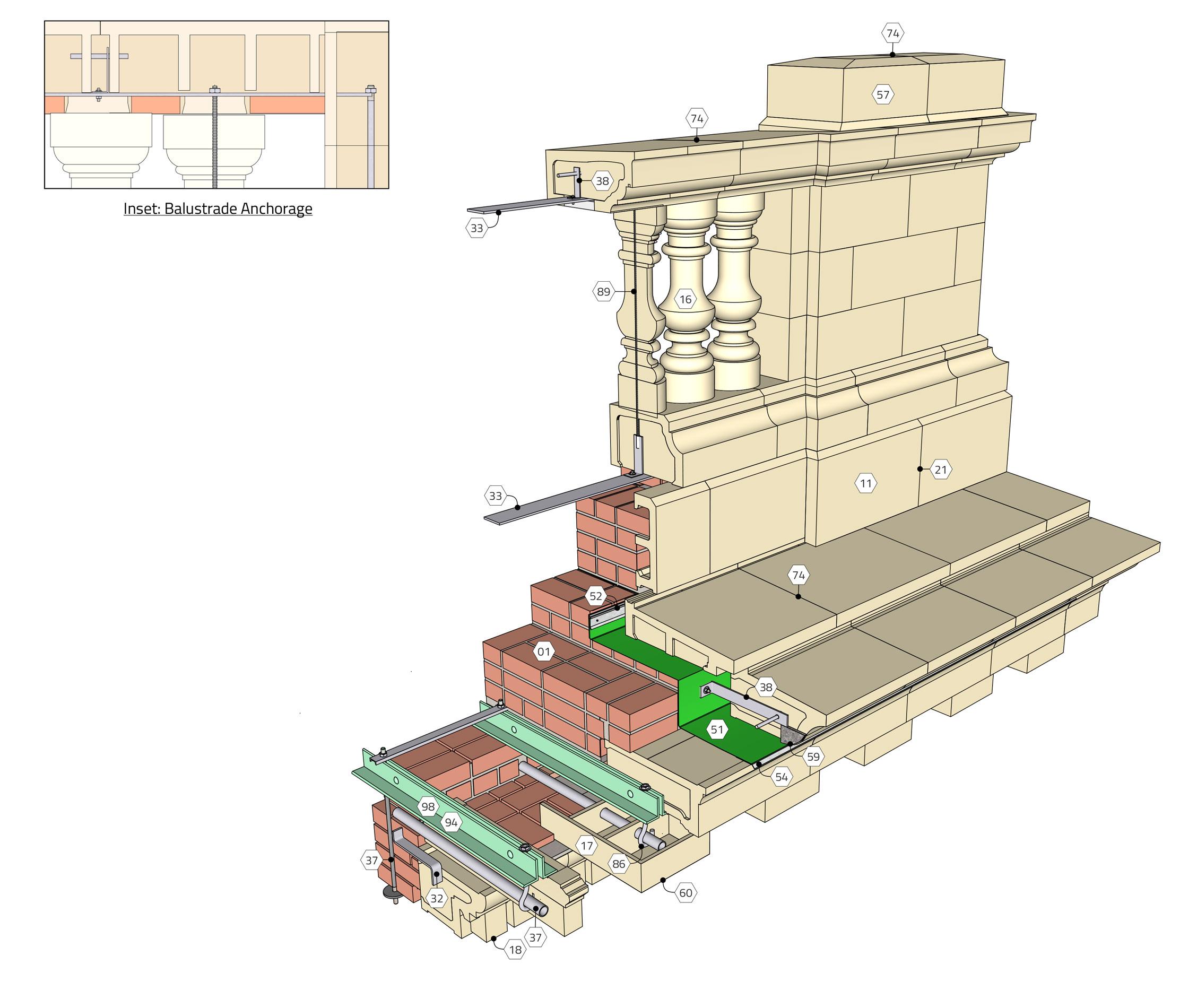 Close-up of Pressed Terra Cotta Cornice and Parapet Rebuild