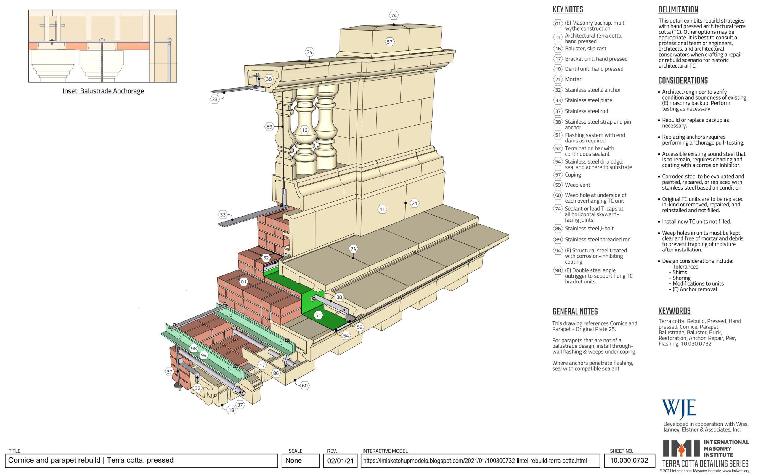 Pressed terra cotta cornice and parapet rebuild detail