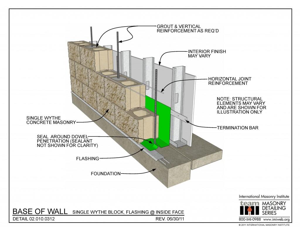 02 010 0312 Base Of Wall Single Wythe Block Flashing