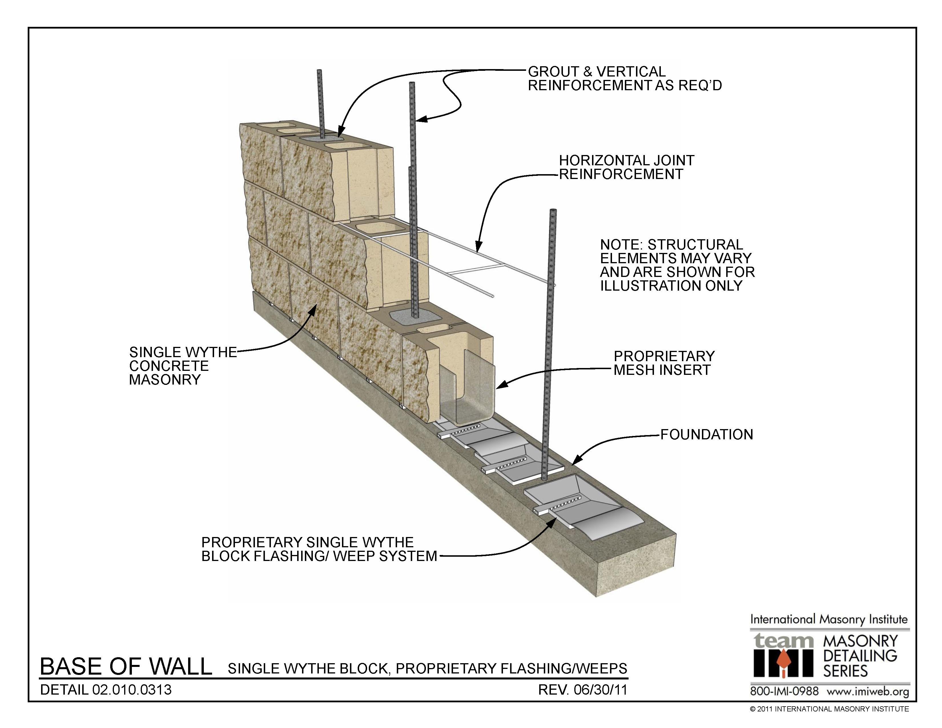 02 010 0313 Base Of Wall Single Wythe Block